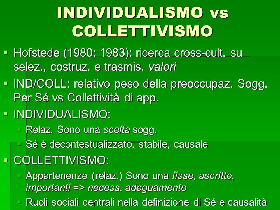 INDIVIDUALISMO vs COLLETTIVISMO Hofstede (1980; 1983): ricerca cross-cult. su selez., costruz. e trasmis. valori Hofstede (1980; 1983): ricerca cross-