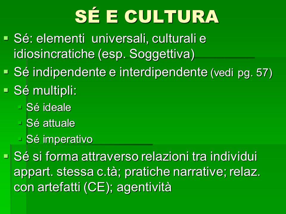 SÉ E CULTURA Sé: elementi universali, culturali e idiosincratiche (esp. Soggettiva) Sé: elementi universali, culturali e idiosincratiche (esp. Soggett