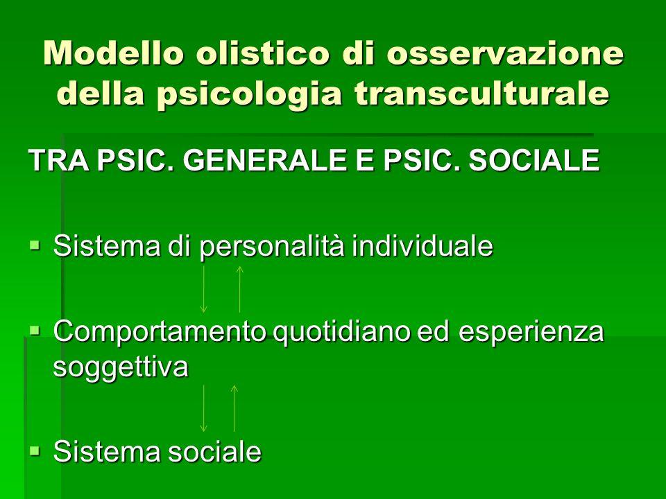 Modello olistico di osservazione della psicologia transculturale TRA PSIC. GENERALE E PSIC. SOCIALE Sistema di personalità individuale Sistema di pers