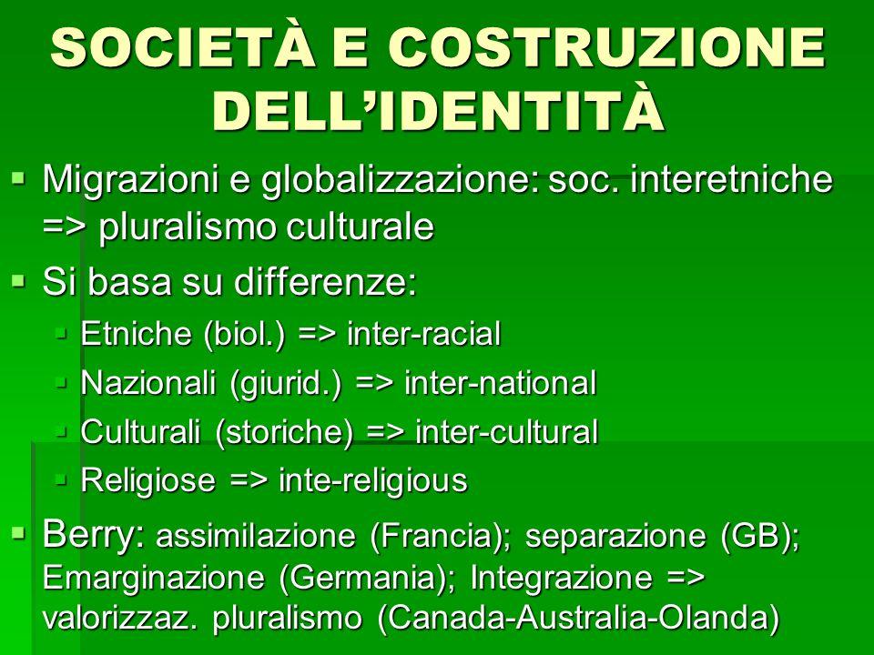 SOCIETÀ E COSTRUZIONE DELLIDENTITÀ Migrazioni e globalizzazione: soc. interetniche => pluralismo culturale Migrazioni e globalizzazione: soc. interetn