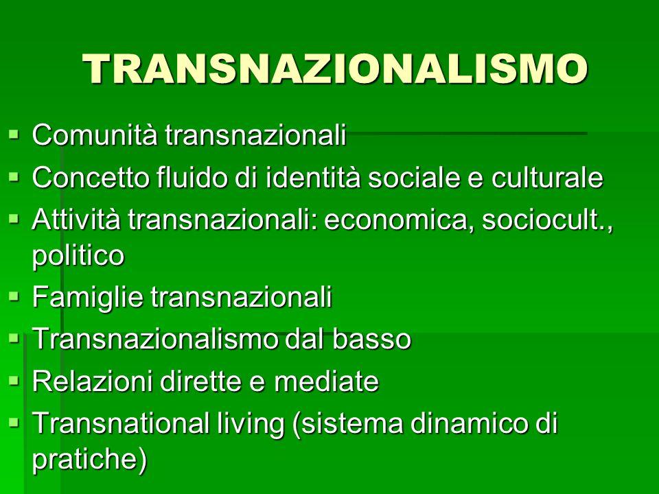 Comunità transnazionali Comunità transnazionali Concetto fluido di identità sociale e culturale Concetto fluido di identità sociale e culturale Attivi