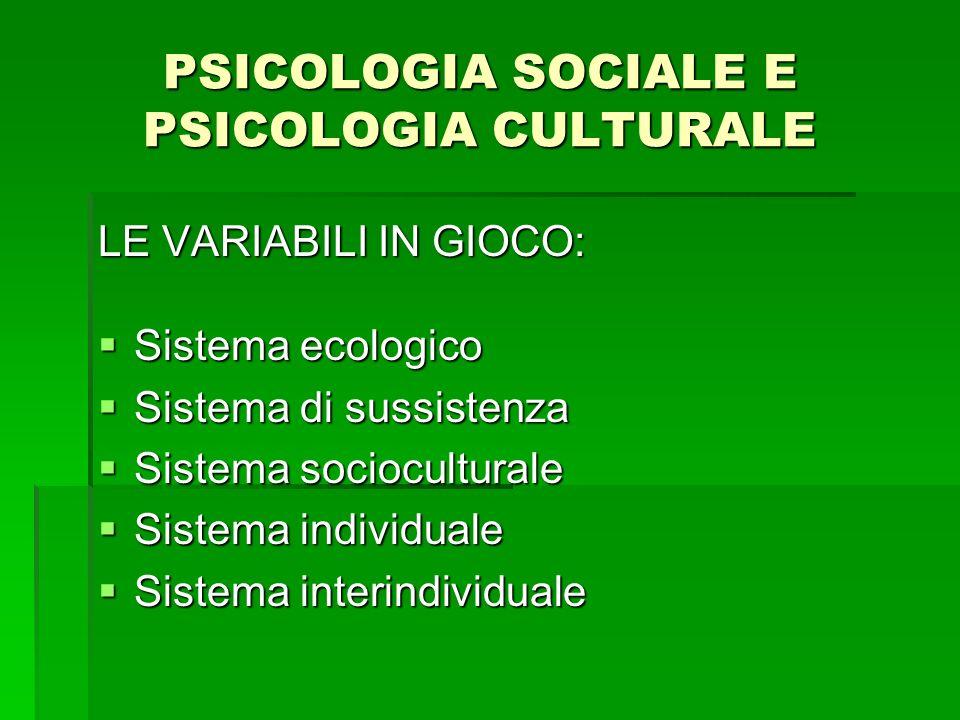 PSICOLOGIA SOCIALE E PSICOLOGIA CULTURALE LE VARIABILI IN GIOCO: Sistema ecologico Sistema ecologico Sistema di sussistenza Sistema di sussistenza Sis