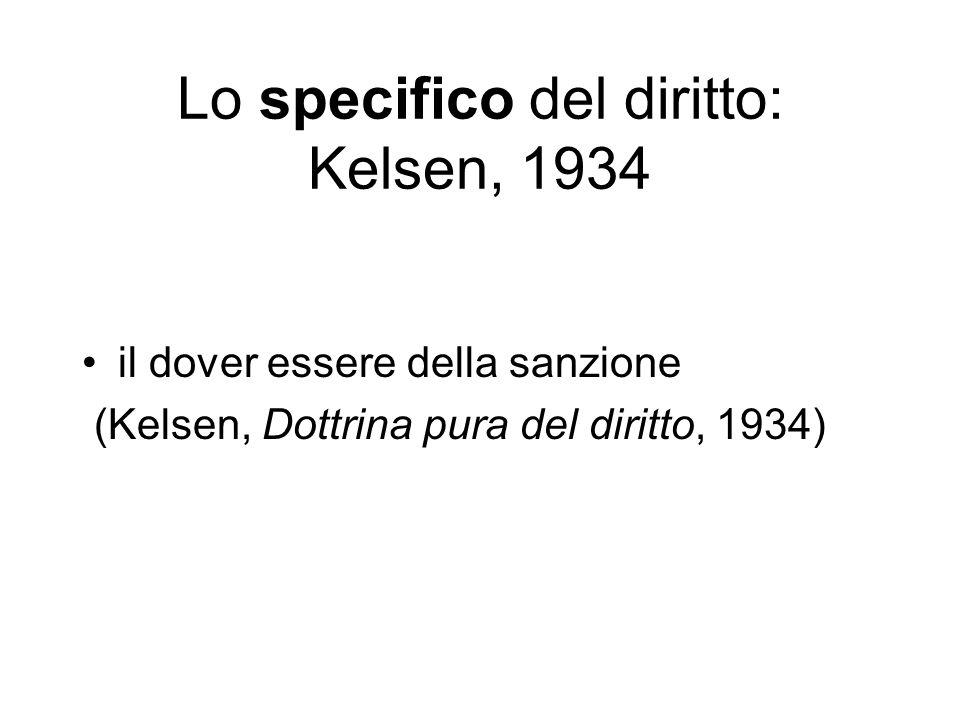 Lo specifico del diritto: Kelsen, 1934 il dover essere della sanzione (Kelsen, Dottrina pura del diritto, 1934)