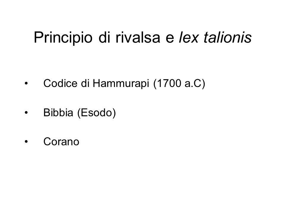 Principio di rivalsa e lex talionis Codice di Hammurapi (1700 a.C) Bibbia (Esodo) Corano