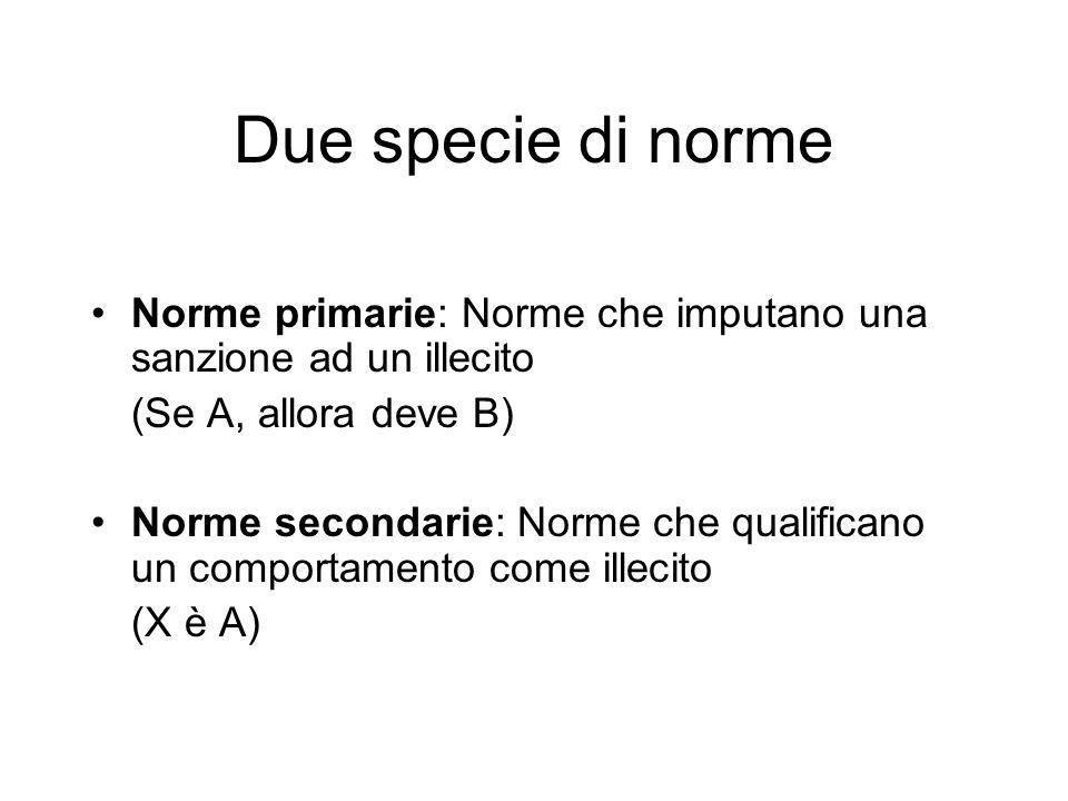 Due specie di norme Norme primarie: Norme che imputano una sanzione ad un illecito (Se A, allora deve B) Norme secondarie: Norme che qualificano un comportamento come illecito (X è A)