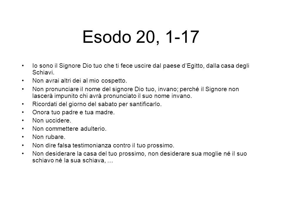 Esodo 20, 1-17 Io sono il Signore Dio tuo che ti fece uscire dal paese dEgitto, dalla casa degli Schiavi.