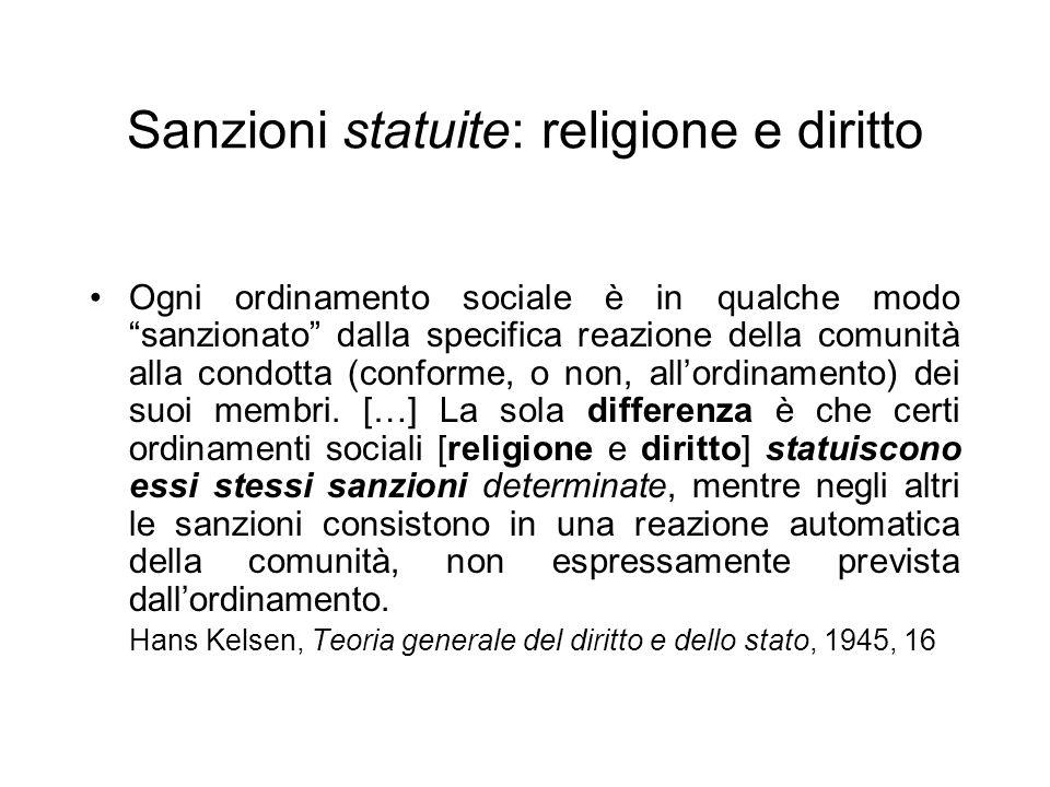 Sanzioni statuite: religione e diritto Ogni ordinamento sociale è in qualche modo sanzionato dalla specifica reazione della comunità alla condotta (conforme, o non, allordinamento) dei suoi membri.