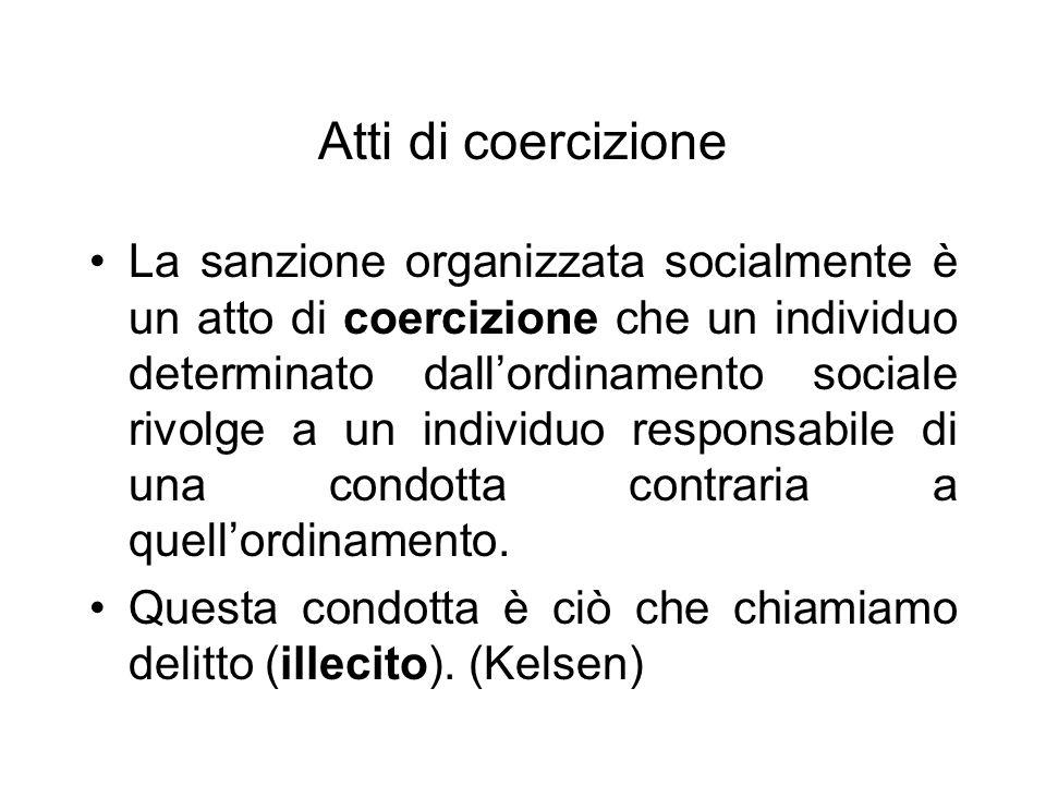 Atti di coercizione La sanzione organizzata socialmente è un atto di coercizione che un individuo determinato dallordinamento sociale rivolge a un individuo responsabile di una condotta contraria a quellordinamento.