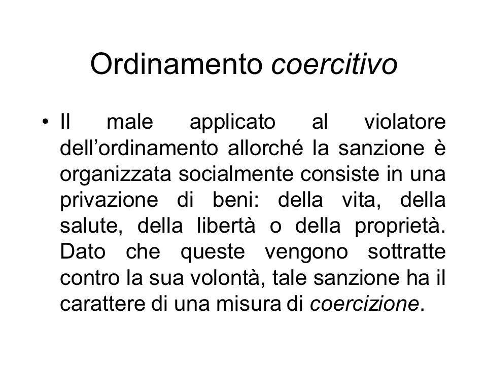 Ordinamento coercitivo Il male applicato al violatore dellordinamento allorché la sanzione è organizzata socialmente consiste in una privazione di beni: della vita, della salute, della libertà o della proprietà.