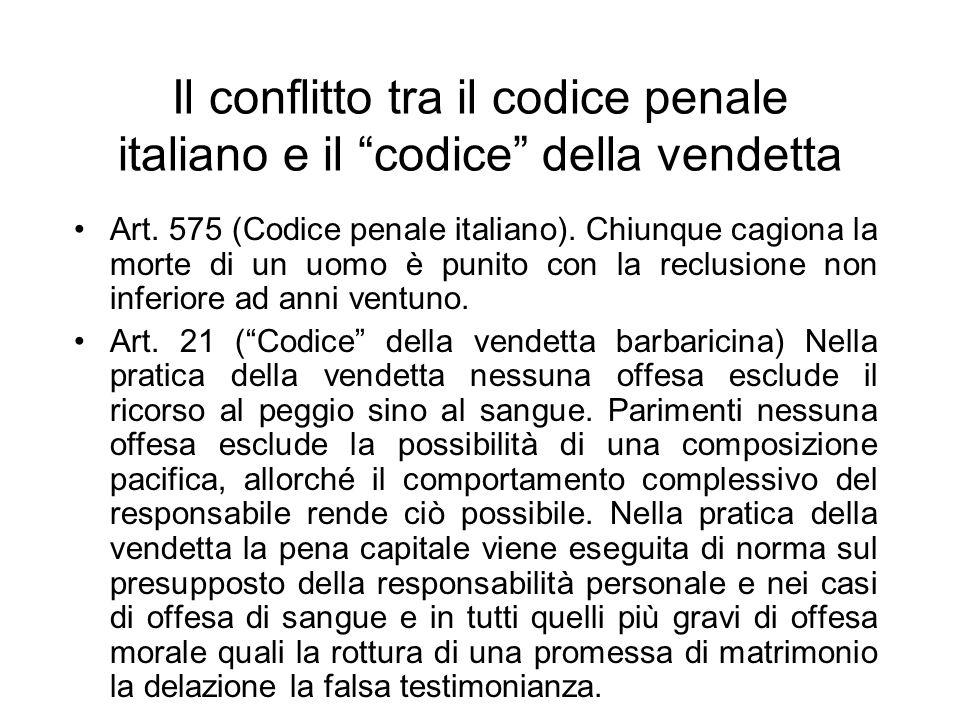 Il conflitto tra il codice penale italiano e il codice della vendetta Art.