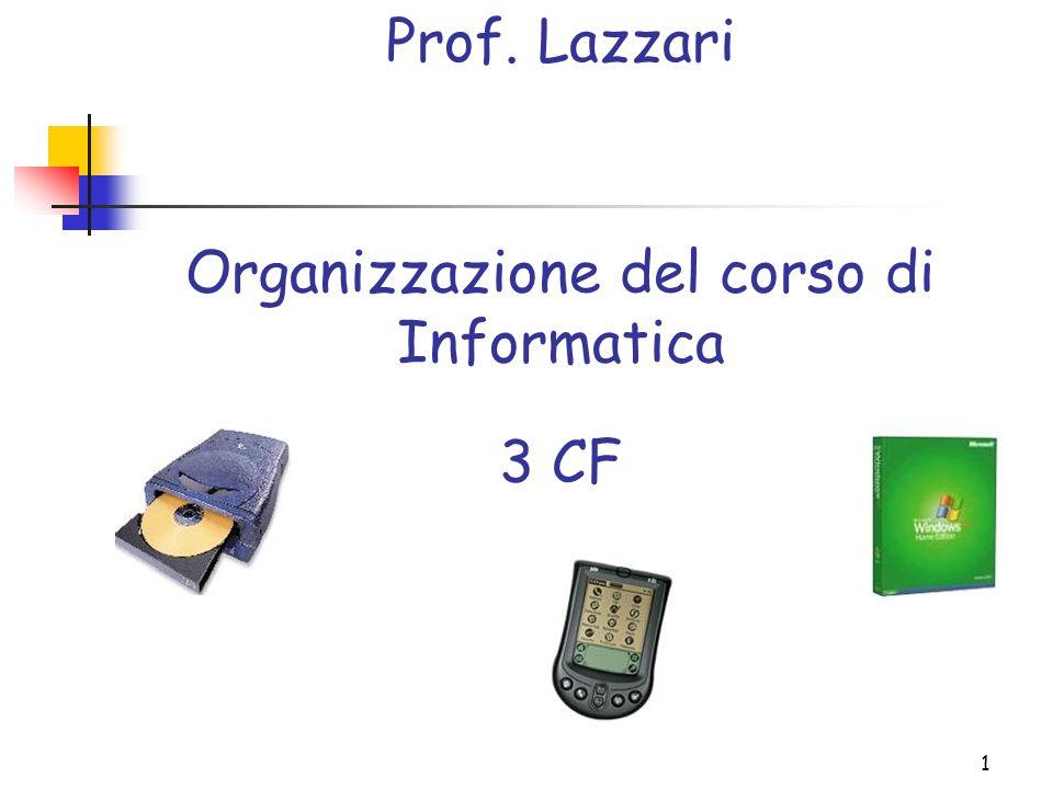1 Organizzazione del corso di Informatica Prof. Lazzari 3 CF