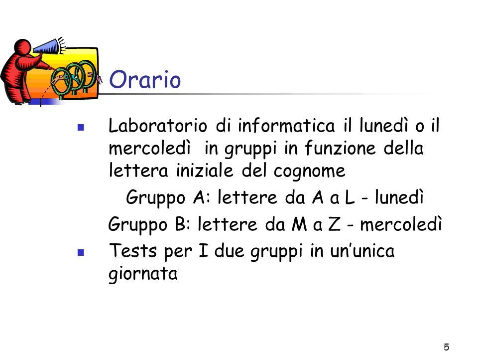 5 Orario Laboratorio di informatica il lunedì o il mercoledì in gruppi in funzione della lettera iniziale del cognome Gruppo A: lettere da A a L - lun