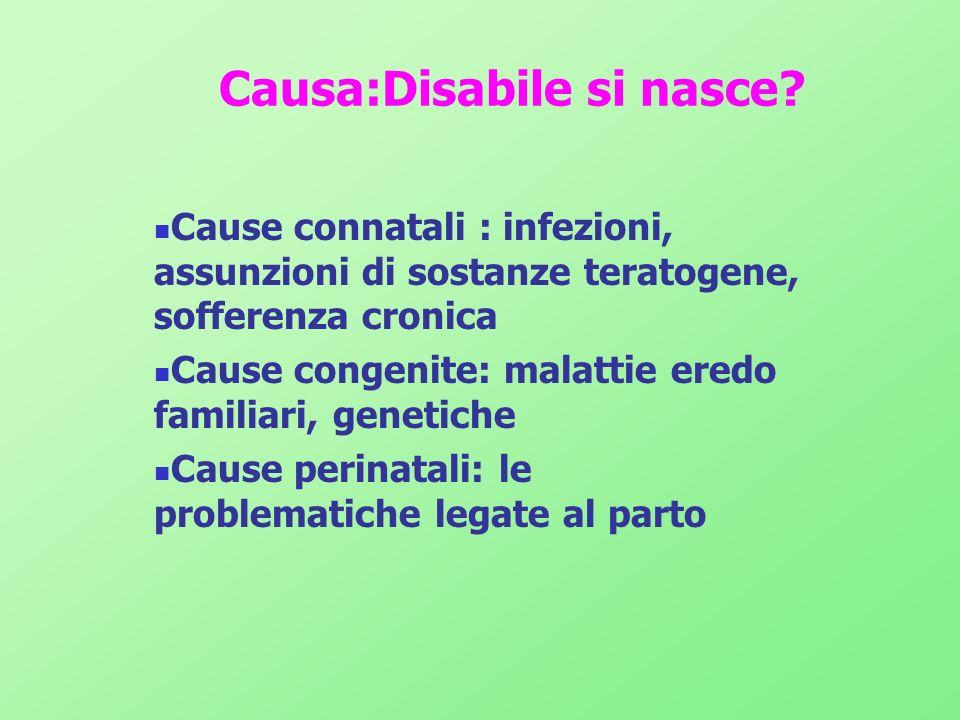 Causa:Disabile si nasce? Cause connatali : infezioni, assunzioni di sostanze teratogene, sofferenza cronica Cause congenite: malattie eredo familiari,