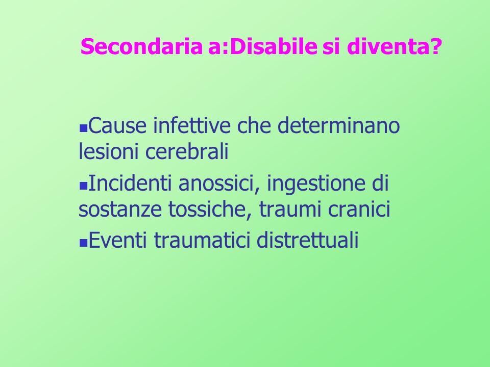 Secondaria a:Disabile si diventa? Cause infettive che determinano lesioni cerebrali Incidenti anossici, ingestione di sostanze tossiche, traumi cranic