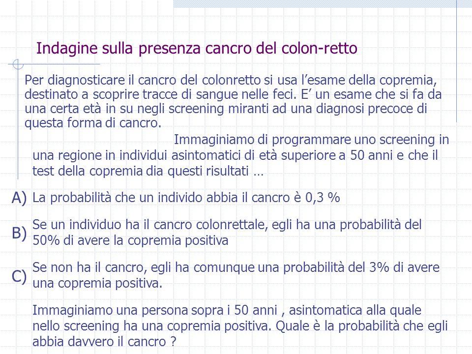 Indagine sulla presenza cancro del colon-retto Per diagnosticare il cancro del colonretto si usa lesame della copremia, destinato a scoprire tracce di