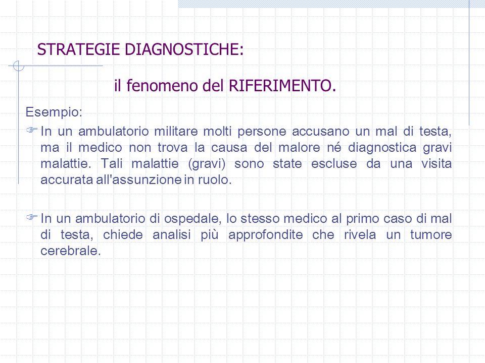STRATEGIE DIAGNOSTICHE: Esempio: In un ambulatorio militare molti persone accusano un mal di testa, ma il medico non trova la causa del malore né diag