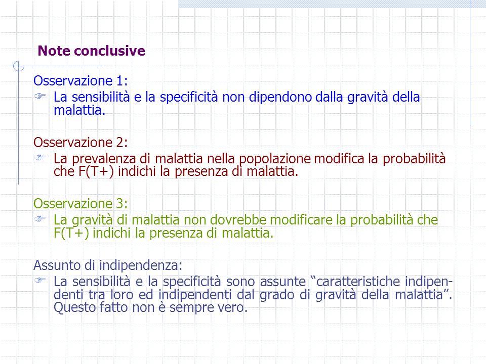Note conclusive Osservazione 1: La sensibilità e la specificità non dipendono dalla gravità della malattia. Osservazione 2: La prevalenza di malattia