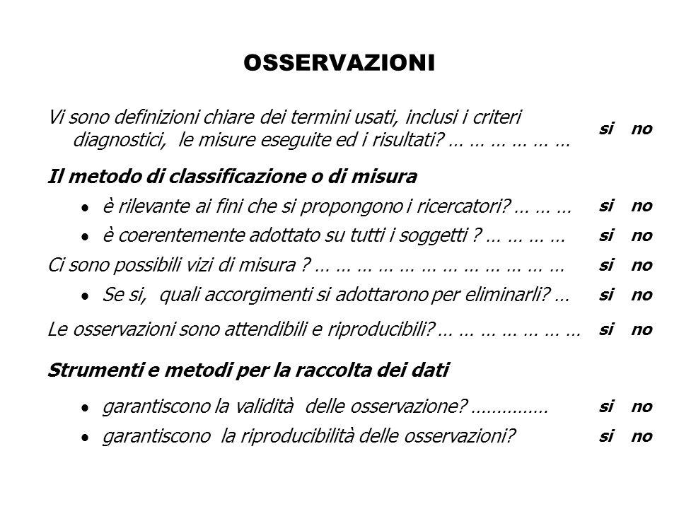 OSSERVAZIONI Vi sono definizioni chiare dei termini usati, inclusi i criteri diagnostici, le misure eseguite ed i risultati.