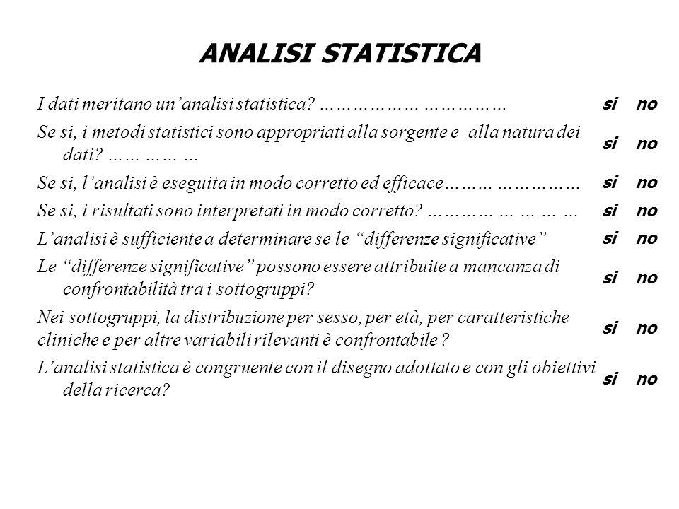ANALISI STATISTICA I dati meritano unanalisi statistica? ……………… …………… sino Se si, i metodi statistici sono appropriati alla sorgente e alla natura dei