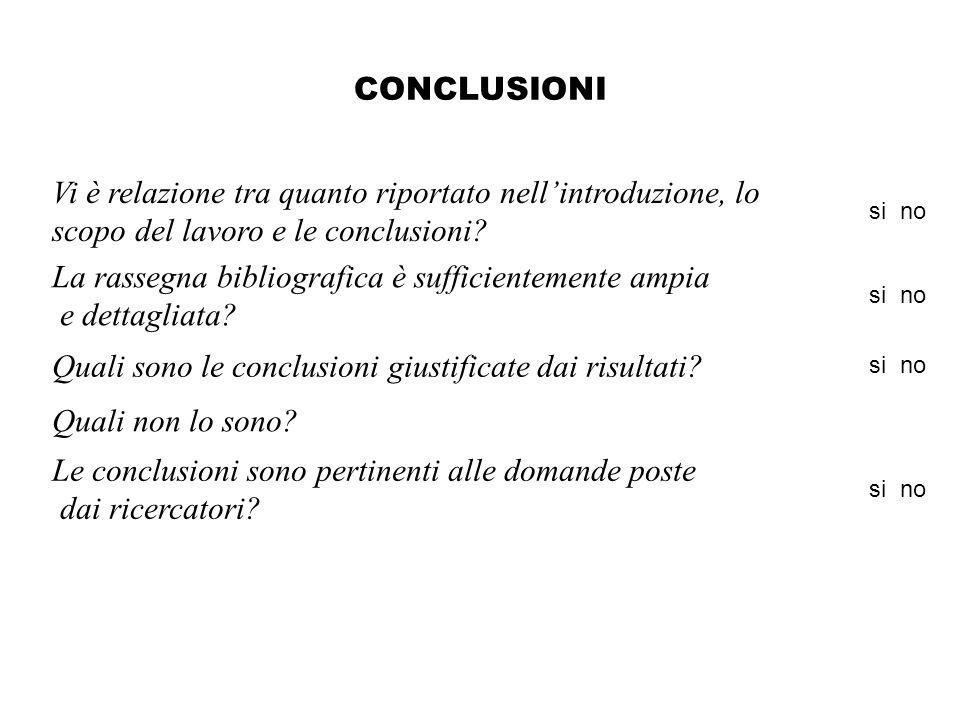 CONCLUSIONI Vi è relazione tra quanto riportato nellintroduzione, lo scopo del lavoro e le conclusioni.