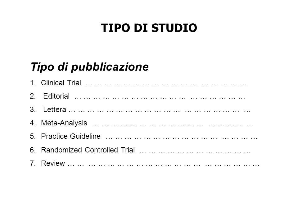 TIPO DI STUDIO Tipo di pubblicazione 1.Clinical Trial … … … … … … … … … … … … … … … … … 2. Editorial … … … … … … … … … … … … … … … … … … 3. Lettera …