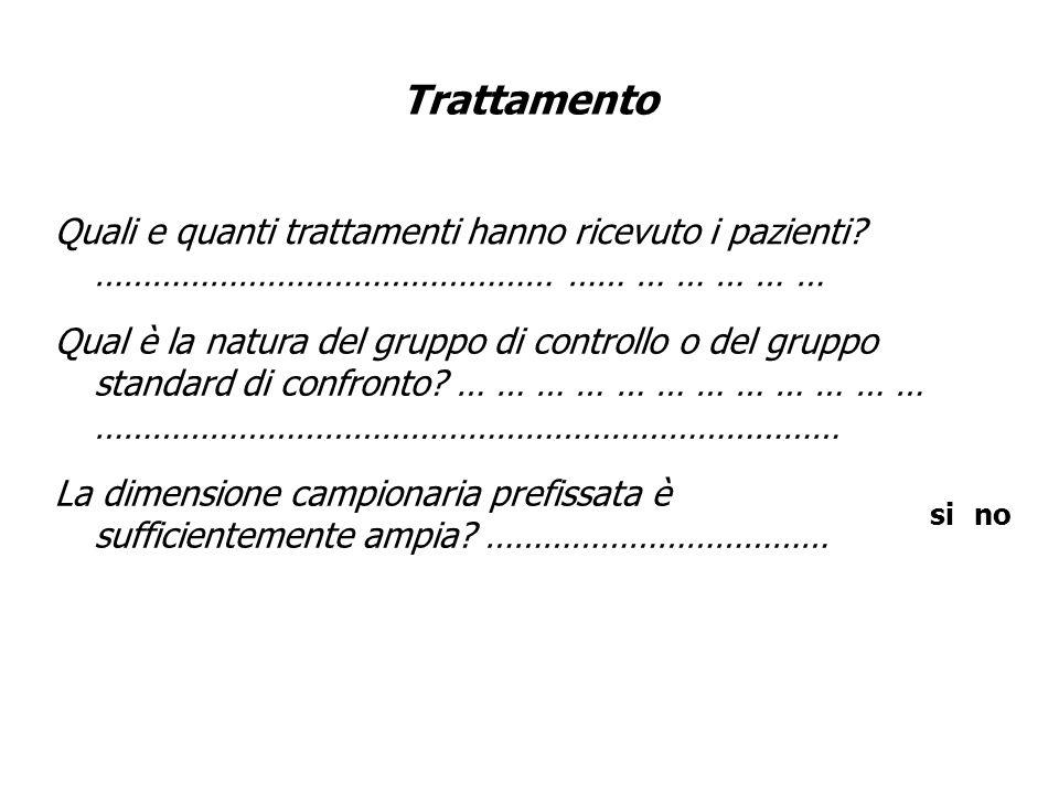 Trattamento Quali e quanti trattamenti hanno ricevuto i pazienti? ………………………………………… …… … … … … … Qual è la natura del gruppo di controllo o del gruppo