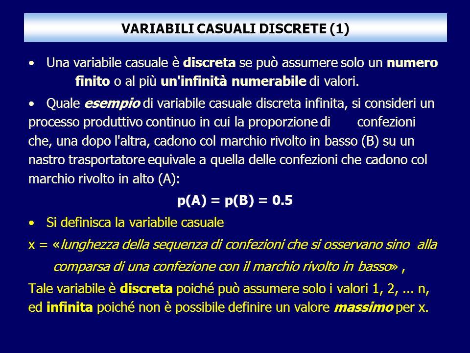 VARIABILI CASUALI DISCRETE (1) Una variabile casuale è discreta se può assumere solo un numero finito o al più un'infinità numerabile di valori. Quale