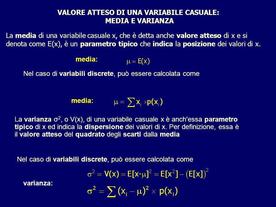 VALORE ATTESO DI UNA VARIABILE CASUALE: MEDIA E VARIANZA La media di una variabile casuale x, che è detta anche valore atteso di x e si denota come E(x), è un parametro tipico che indica la posizione dei valori di x.
