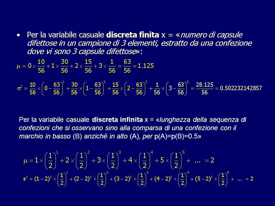 Per la variabile casuale discreta finita x = «numero di capsule difettose in un campione di 3 elementi, estratto da una confezione dove vi sono 3 capsule difettose»: Per la variabile casuale discreta infinita x = «lunghezza della sequenza di confezioni che si osservano sino alla comparsa di una confezione con il marchio in basso (B) anziché in alto (A), per p(A)=p(B)=0.5»