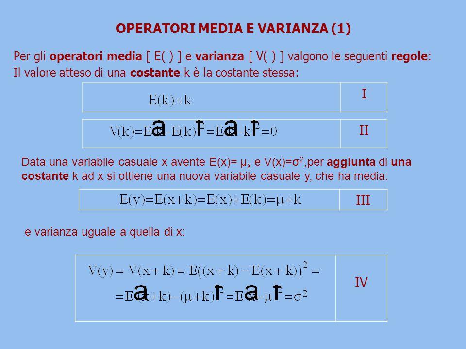 OPERATORI MEDIA E VARIANZA (1) Per gli operatori media [ E( ) ] e varianza [ V( ) ] valgono le seguenti regole: Il valore atteso di una costante k è la costante stessa: I II III IV e varianza uguale a quella di x: Data una variabile casuale x avente E(x)= μ x e V(x)=σ 2,per aggiunta di una costante k ad x si ottiene una nuova variabile casuale y, che ha media: