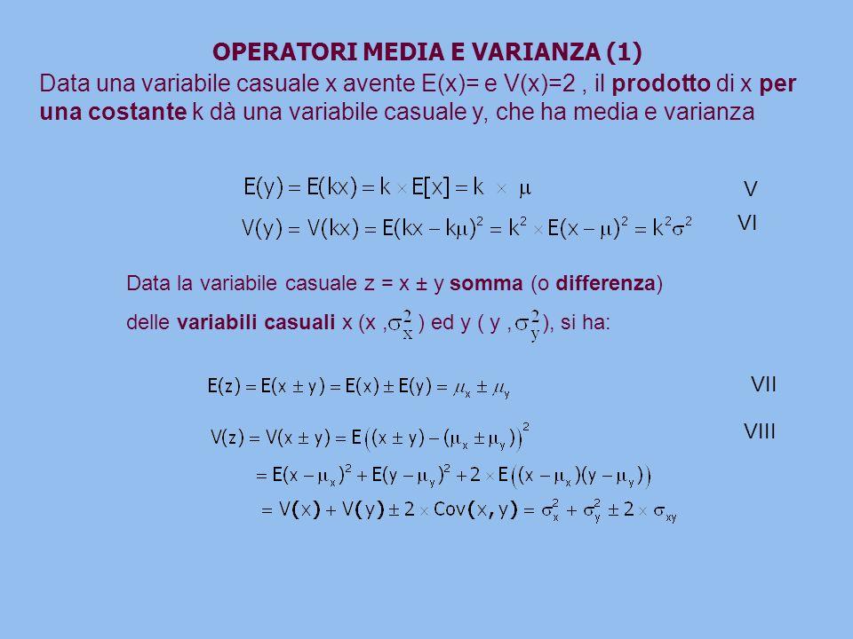 OPERATORI MEDIA E VARIANZA (1) Data una variabile casuale x avente E(x)= e V(x)=2, il prodotto di x per una costante k dà una variabile casuale y, che ha media e varianza Data la variabile casuale z = x ± y somma (o differenza) delle variabili casuali x (x, ) ed y ( y, ), si ha: V VI VII VIII