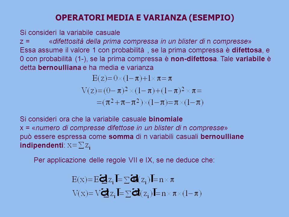 OPERATORI MEDIA E VARIANZA (ESEMPIO) Si consideri la variabile casuale z =«difettosità della prima compressa in un blister di n compresse» Essa assume il valore 1 con probabilità, se la prima compressa è difettosa, e 0 con probabilità (1-), se la prima compressa è non-difettosa.