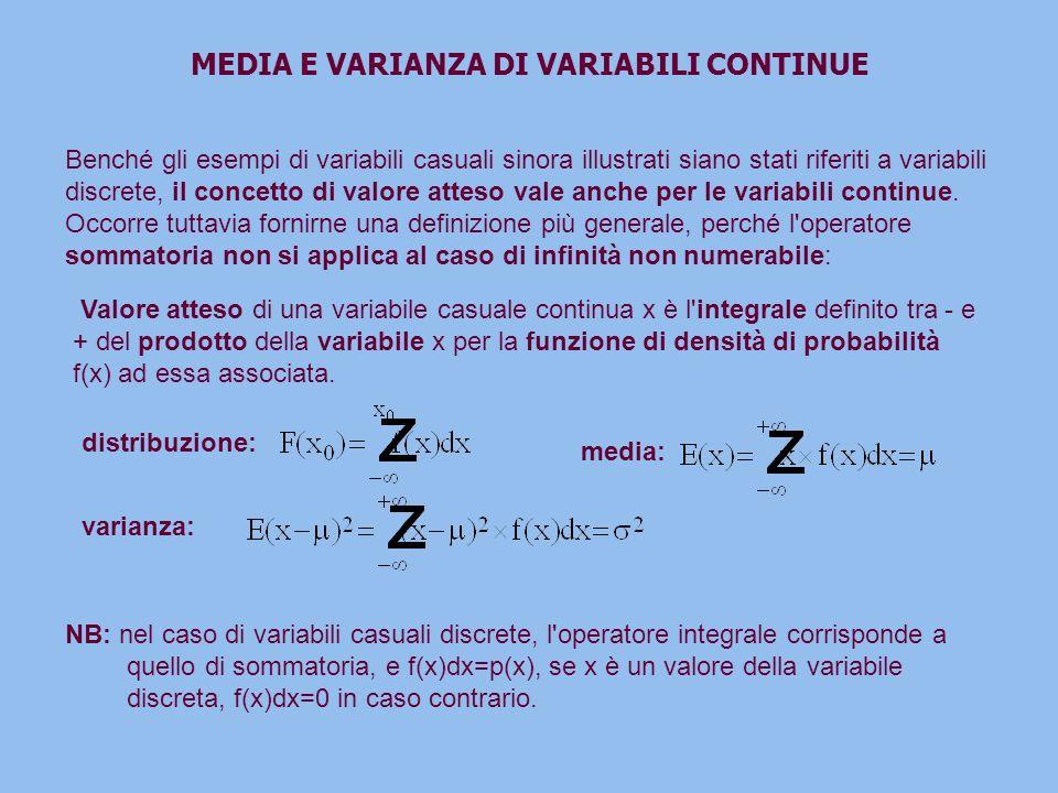 MEDIA E VARIANZA DI VARIABILI CONTINUE Benché gli esempi di variabili casuali sinora illustrati siano stati riferiti a variabili discrete, il concetto di valore atteso vale anche per le variabili continue.