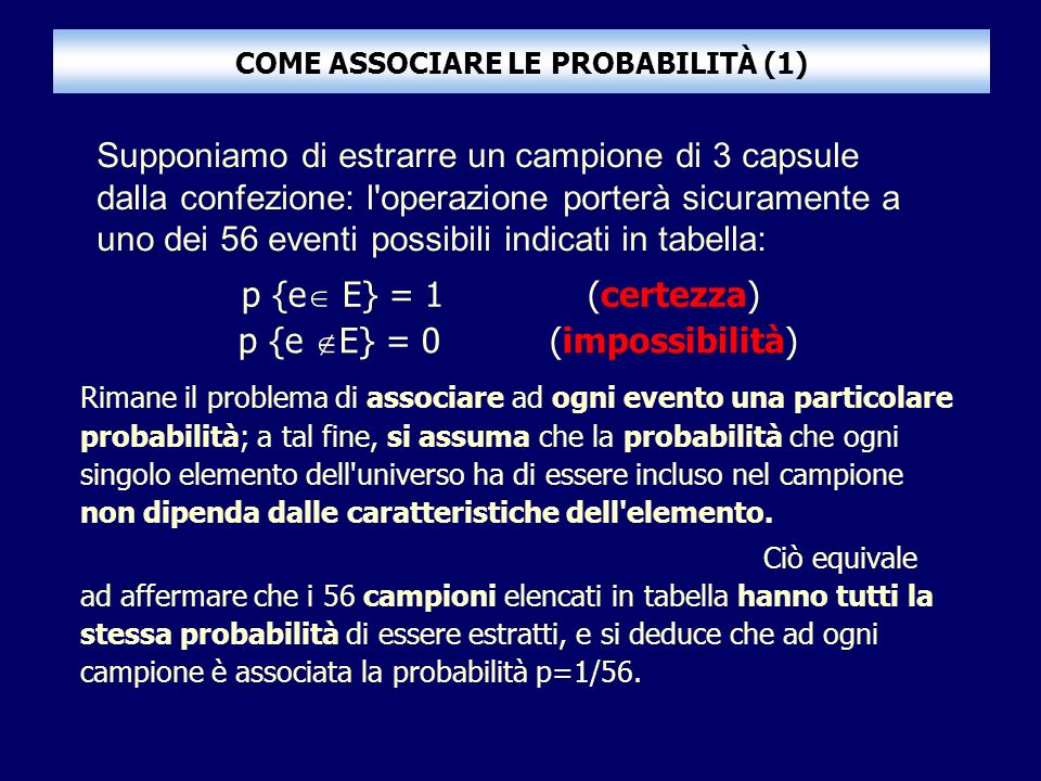 COME ASSOCIARE LE PROBABILITÀ (1) Rimane il problema di associare ad ogni evento una particolare probabilità; a tal fine, si assuma che la probabilità che ogni singolo elemento dell universo ha di essere incluso nel campione non dipenda dalle caratteristiche dell elemento.