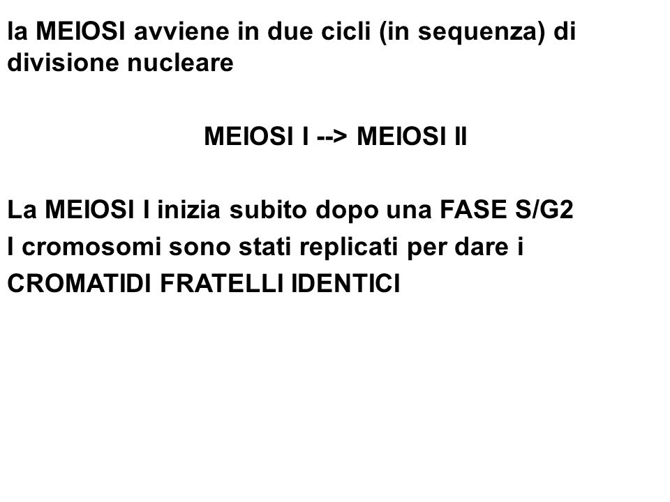 la MEIOSI avviene in due cicli (in sequenza) di divisione nucleare MEIOSI I --> MEIOSI II La MEIOSI I inizia subito dopo una FASE S/G2 I cromosomi sono stati replicati per dare i CROMATIDI FRATELLI IDENTICI