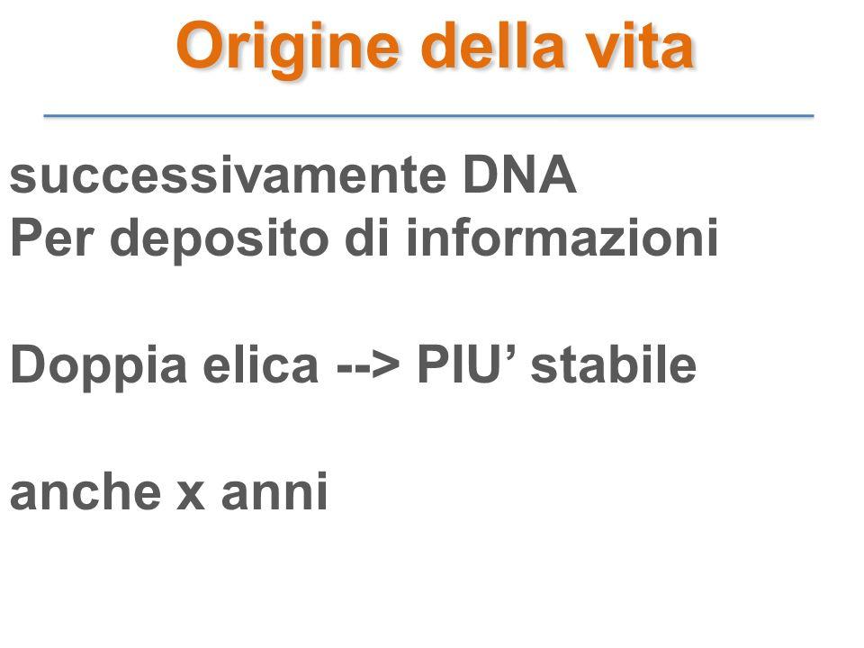 successivamente DNA Per deposito di informazioni Doppia elica --> PIU stabile anche x anni Origine della vita