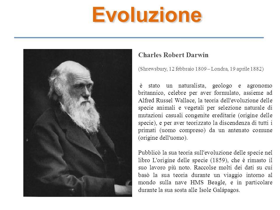 Evoluzione Charles Robert Darwin (Shrewsbury, 12 febbraio 1809 – Londra, 19 aprile 1882) è stato un naturalista, geologo e agronomo britannico, celebr