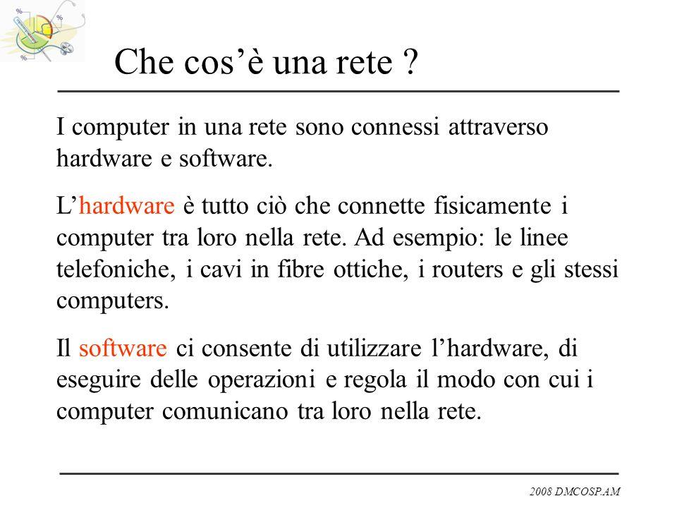 2008 DMCOSP.AM Che cosè una rete ? I computer in una rete sono connessi attraverso hardware e software. Lhardware è tutto ciò che connette fisicamente