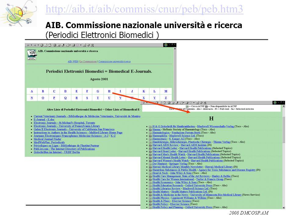 2008 DMCOSP.AM http://aib.it/aib/commiss/cnur/peb/peb.htm3 AIB. Commissione nazionale università e ricerca (Periodici Elettronici Biomedici )
