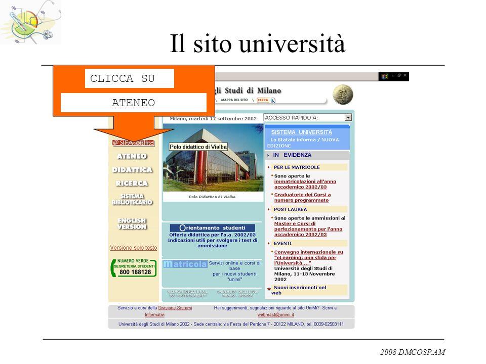 2008 DMCOSP.AM Il sito università CLICCA SU ATENEO
