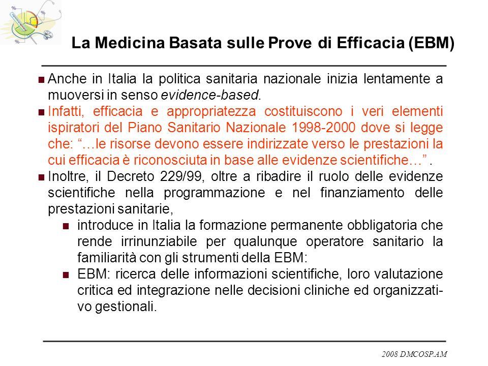 2008 DMCOSP.AM La Medicina Basata sulle Prove di Efficacia (EBM) Anche in Italia la politica sanitaria nazionale inizia lentamente a muoversi in senso
