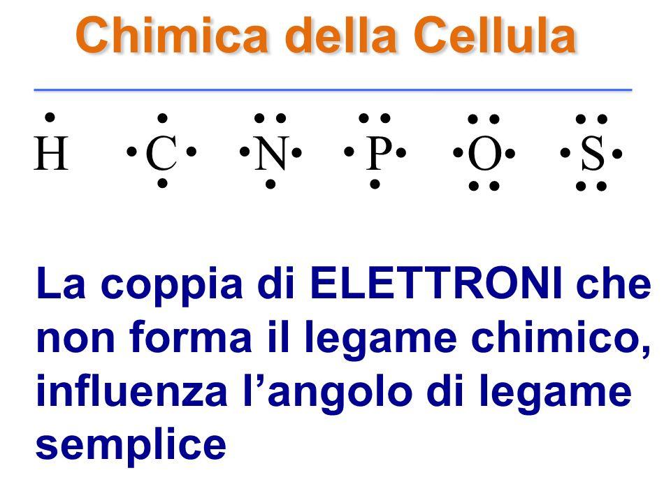 Chimica della Cellula H C N P O S........................... La coppia di ELETTRONI che non forma il legame chimico, influenza langolo di legame sempl