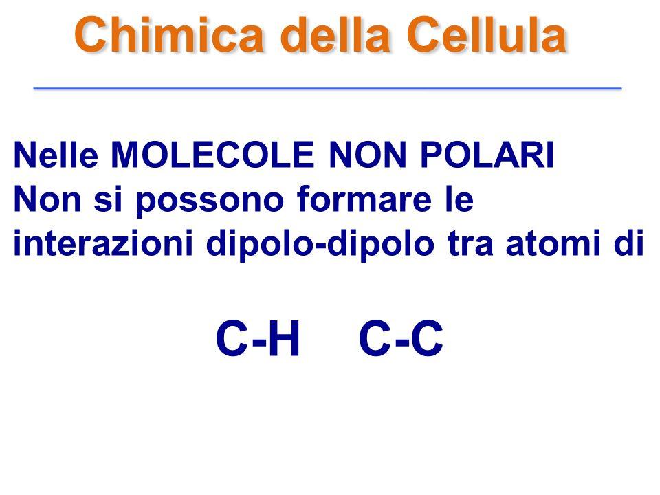 Chimica della Cellula Nelle MOLECOLE NON POLARI Non si possono formare le interazioni dipolo-dipolo tra atomi di C-H C-C