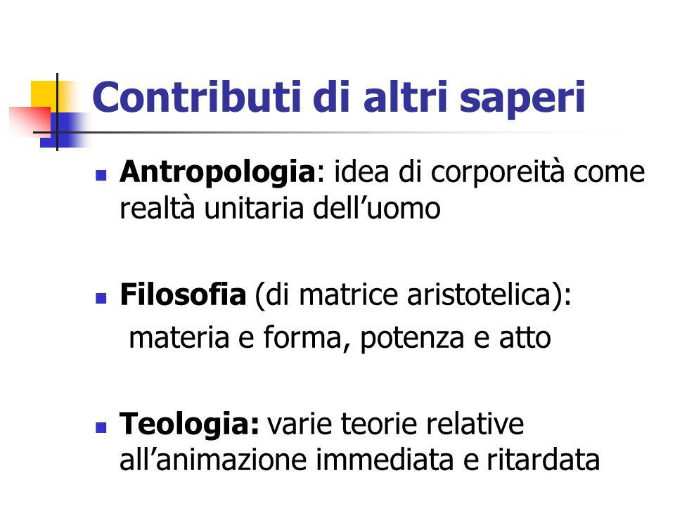 Contributi di altri saperi Antropologia: idea di corporeità come realtà unitaria delluomo Filosofia (di matrice aristotelica): materia e forma, potenz