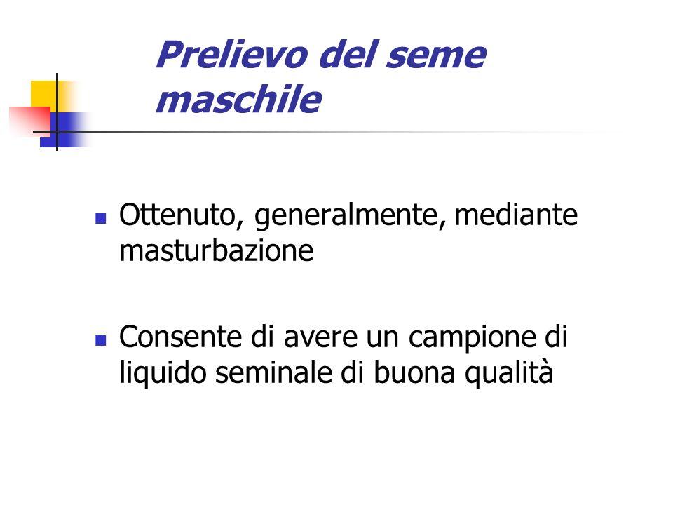 Prelievo del seme maschile Ottenuto, generalmente, mediante masturbazione Consente di avere un campione di liquido seminale di buona qualità