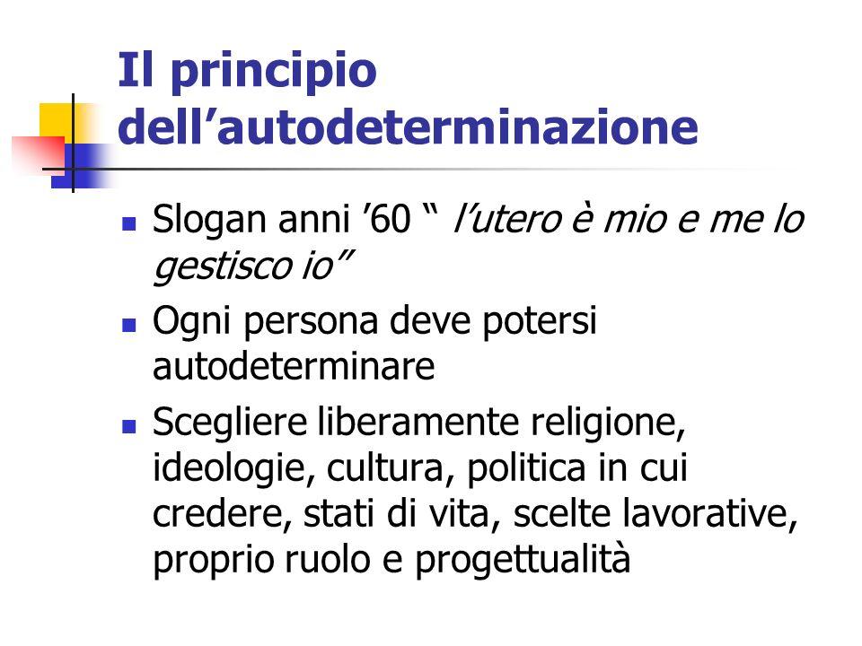 Il principio dellautodeterminazione Slogan anni 60 lutero è mio e me lo gestisco io Ogni persona deve potersi autodeterminare Scegliere liberamente re