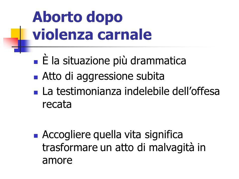 Aborto dopo violenza carnale È la situazione più drammatica Atto di aggressione subita La testimonianza indelebile delloffesa recata Accogliere quella