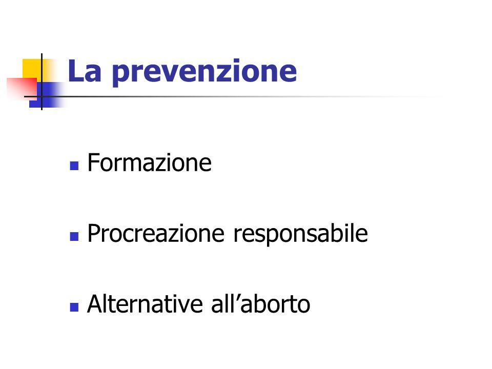 La prevenzione Formazione Procreazione responsabile Alternative allaborto