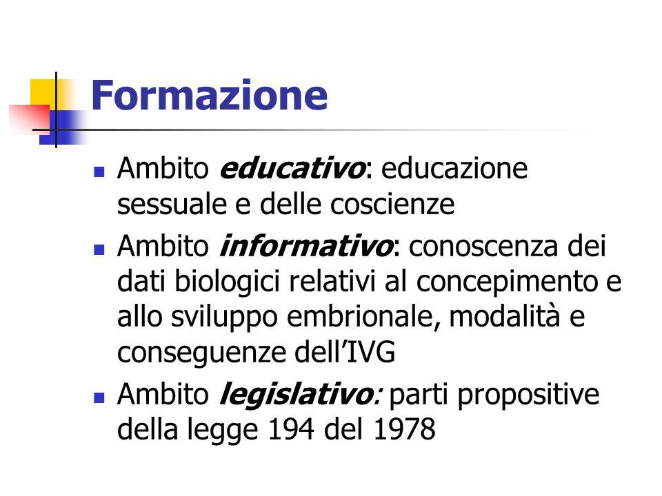 Formazione Ambito educativo: educazione sessuale e delle coscienze Ambito informativo: conoscenza dei dati biologici relativi al concepimento e allo s