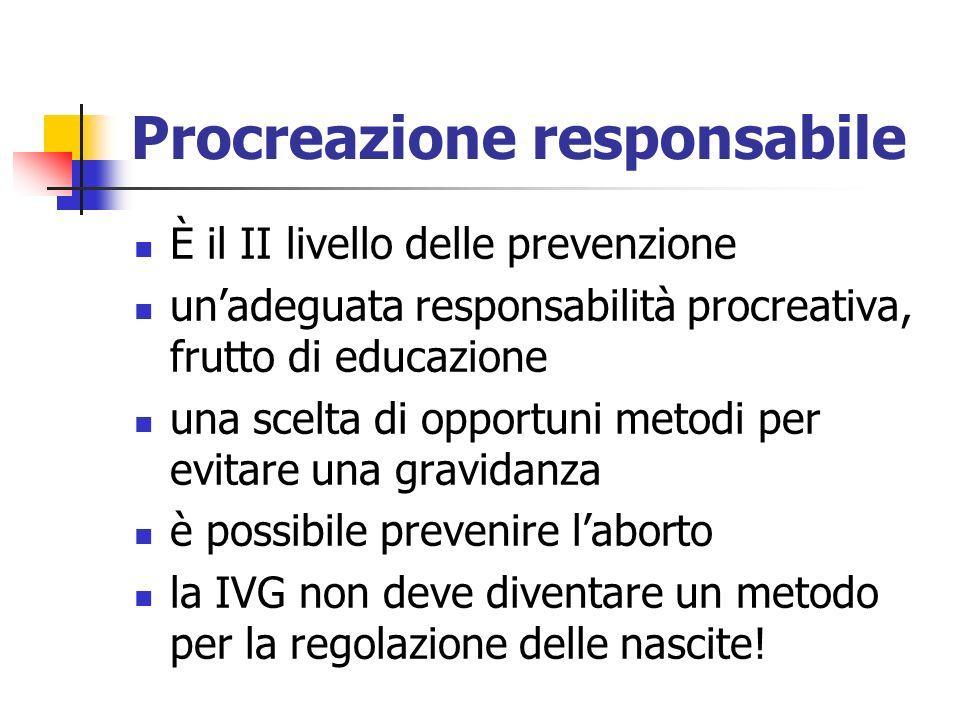 Procreazione responsabile È il II livello delle prevenzione unadeguata responsabilità procreativa, frutto di educazione una scelta di opportuni metodi